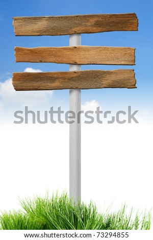 Blank Wood signs isolated on sky - stock photo