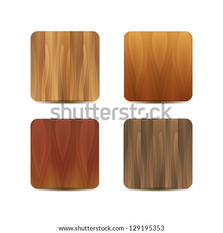 Blank wooden application icons - stock photo