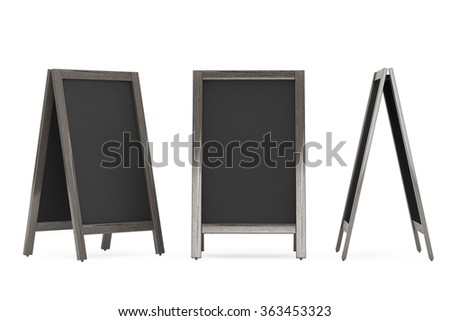 Blank Wooden Menu Blackboards Outdoor Display on a white background - stock photo