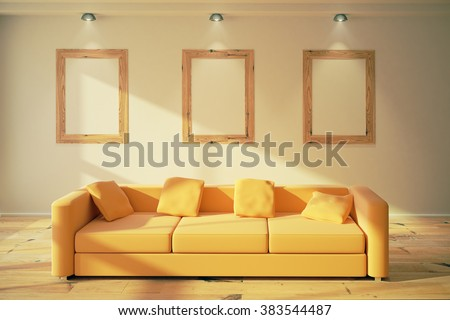 Blank wooden picture frames on the wall in modern room with yellow sofa, 3D Render, mock up - stock photo