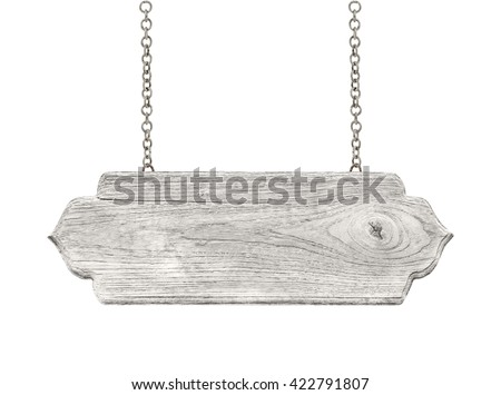 blank wooden sign hanging on a chain. isolated on white - stock photo