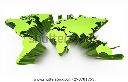 Blank world map green colored with raised edges isolated on white - stock photo