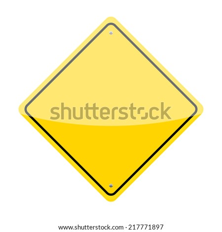 Blank yellow diamond shaped warning traffic sign - stock photo