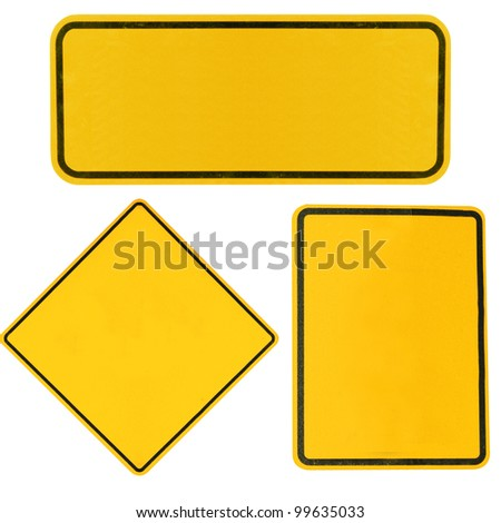 blank Yellow highway road signs isolated on white. - stock photo