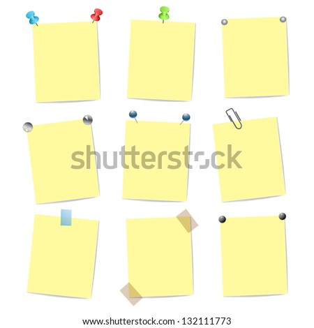 blank yellow note items with pins - stock photo