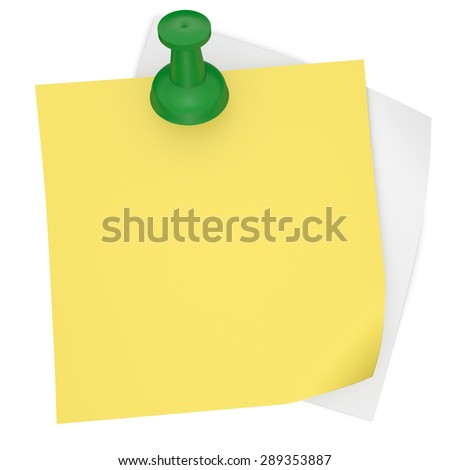 blank yellow note paper with pin - stock photo