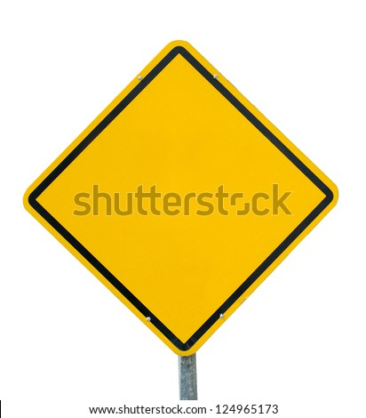 Blank yellow road sign - stock photo