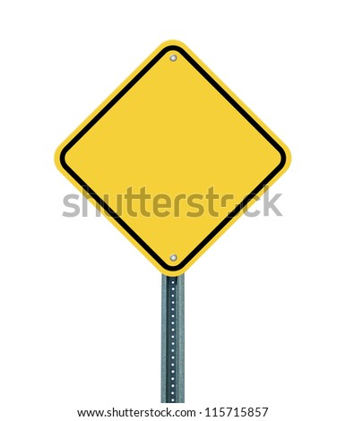 Blank yellow road sign on white background - stock photo