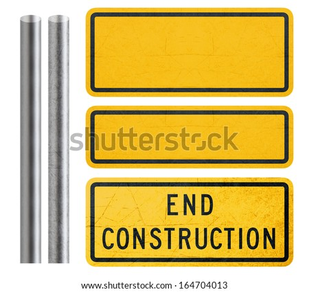 Blank Yellow Sign and end construction sign with metal bar, isolated in white  (with clipping work path) - stock photo