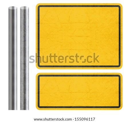 Blank Yellow Sign with metal bar, isolated in white with clipping path. - stock photo