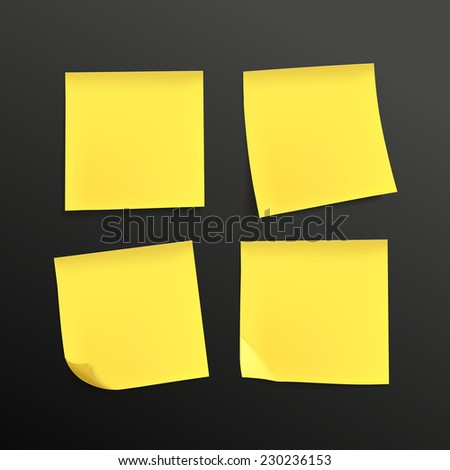 blank yellow sticky notes set over black background - stock photo