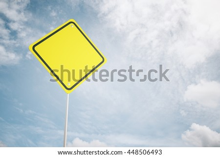 Blank yellow warning road sign on sky background. Mock up, 3D Rendering - stock photo