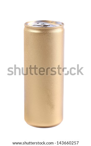 Blanks aluminum and golden soda can - stock photo