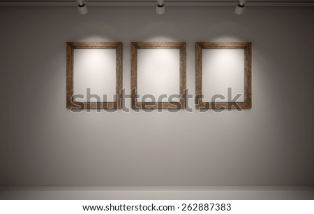 blanks frames on the wall in the room - stock photo