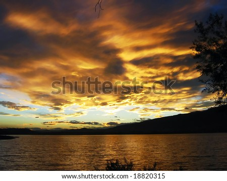 Blazing sunset - stock photo
