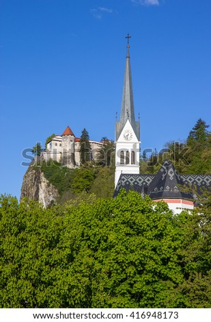 Bled, Slovenia - fortress and church - stock photo