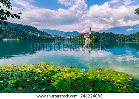 Bled with lake, island  and mountains in background, Slovenia, Europe - stock photo