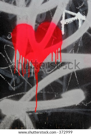 Bleeding heart graffiti - stock photo