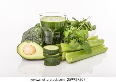 Blended smoothie with ingredients selective focus - stock photo