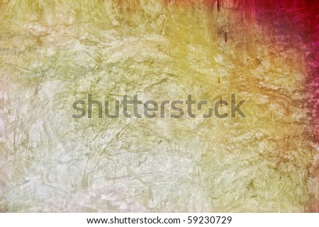 Blending of yellow and red exposed concrete wall texture background - stock photo