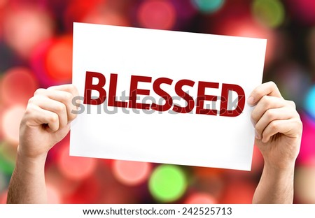Blessed card with colorful background with defocused lights - stock photo