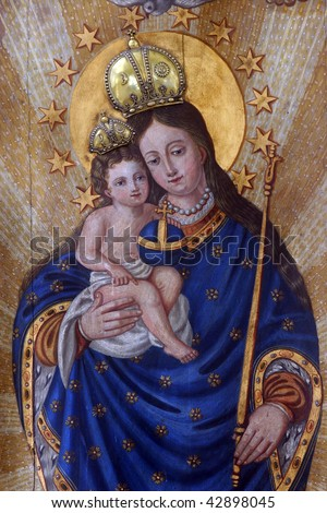 Blessed Virgin Mary with baby Jesus - stock photo