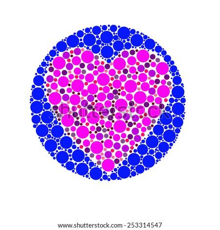 Blind colour test heart design - stock photo