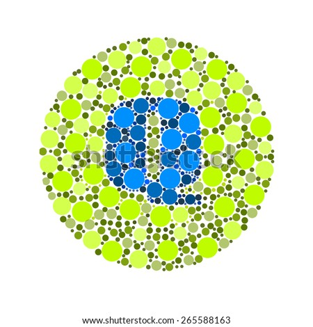 Blind colour test, Ishihara Test. daltonism,color blindness disease. perception test in letter Q - stock photo