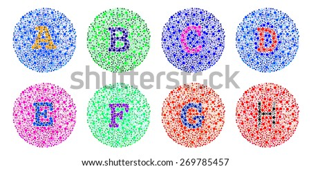 Blind colour test letter A to H - stock photo