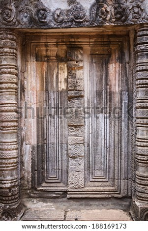 Blind door of Khmer architecture  - stock photo