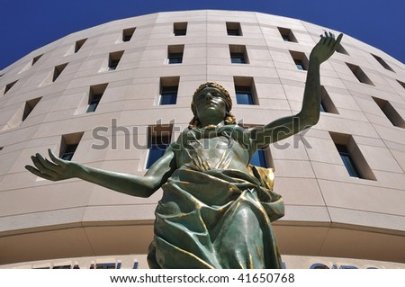 Blind Justice in front of Courthouse - stock photo
