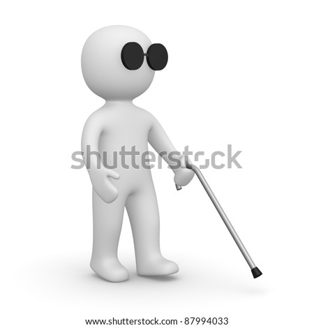 Blind man - stock photo