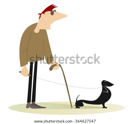 Blind man with a guide dog - stock photo