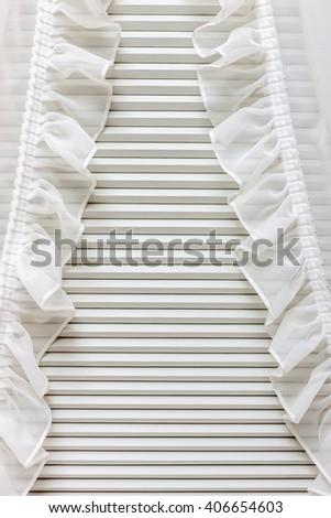 Blinds window decoration in bedroom interior - stock photo