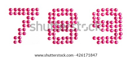 Bling pink numbers, seven,eight,nine - stock photo