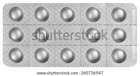 Blister Packet of Pills isolated on white background with clipping path - stock photo