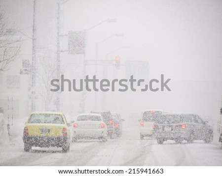 Blizzard on the Road and bad Visibility in Hokkaido, Japan. - stock photo