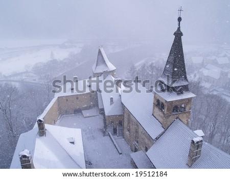 Blizzard Over Castle - stock photo