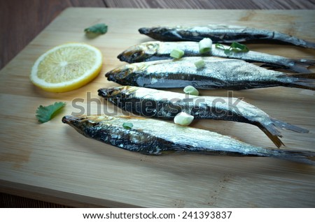 Bloater - type of whole cold-smoked herring.particularly associated with Great Yarmouth, England - stock photo