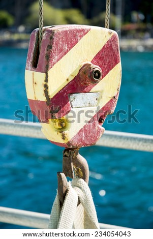 Block and Tackle aboard a ship - stock photo