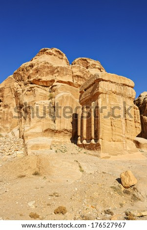 Block grave in Petra, Jordan, Middle East - stock photo