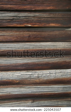 Block-house wall texture, log cabin wall - stock photo