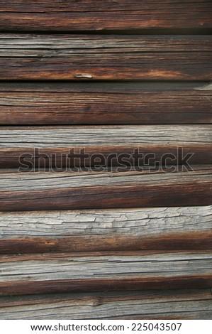 Block-house wall texture, log cabin wall - stock photo