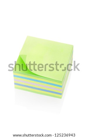 Block notes isolated on white, clipping path included. Detailed paper. - stock photo