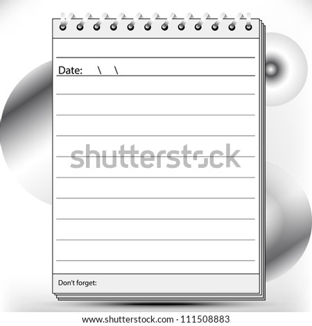 Block notes page lined in black and white shades - stock photo