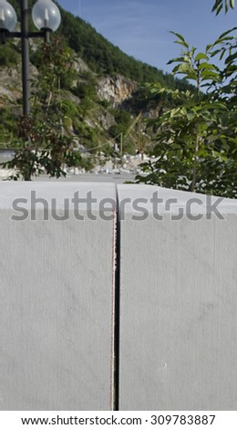 Block of marble of Carrara with cutting - stock photo