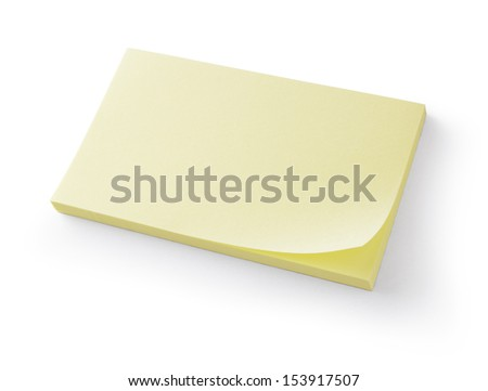 block of post-it notes with clipping path - stock photo