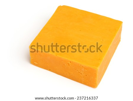 Block of Red Leicester cheese on white background - stock photo