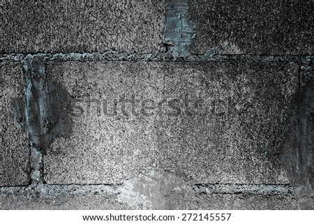Block wall. Gray black background of Cement block wall - stock photo