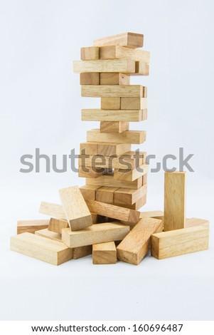 Blocks of wood isolated on white background - stock photo